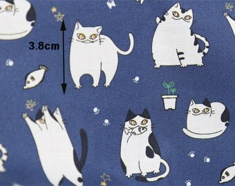 Cats Cotton Fabric, Meow Fabric, Digital Printing - Fabric By the Yard 93902