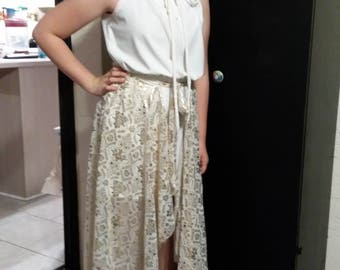 beautiful jumpsuit and overlay skirt