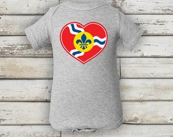 STL Heart Onesie, St. Louis Flag Infant Baby Rib Bodysuit, St. Louis Flag, St. Louis Heart, STL Heart, St. Louis, STL Onesie