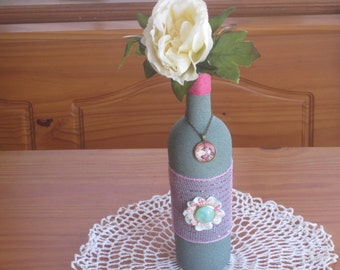 Green Altered Decorated Wine Bottle Home Decor - Altered Wine Bottle Decor