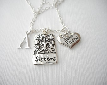 Sisters, Best Friend- Initial Necklace/ Sisters Jewelry, Sibling Jewelry, inspiration, sisterly love, love for sister, Gift for Sister