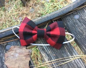"""The """"Canaan"""" gentleman bow tie - Red and black Buffalo Plaid"""