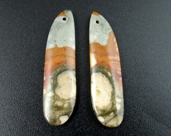 Beautiful  cut and polished pair of  jasper ,  Australian jasper ,beads, Drill B6475