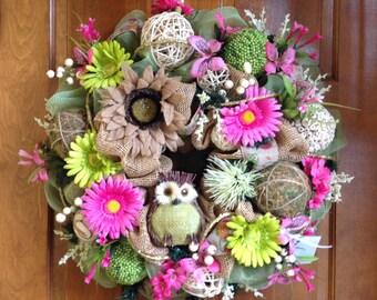 Spring/Summer Owl Wreath