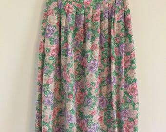 70's Pastel Floral Print A-Line Midi Skirt S M