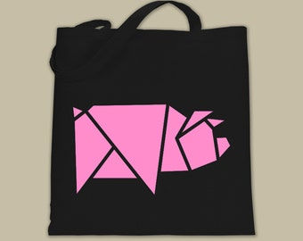 Geometric Pig Canvas Tote, Origami Pig Market Bag, Pig Shape Bag, Meat Market Bag, Animal Tote Bag, Cute Grocery Tote