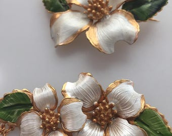 Vintage JEWELRY Set Enameled DOGWOOD Necklace Dogwood Brooch DOGWOOD Set Dogwood jewelry Vintage Jewelry