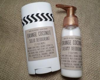 VEGAN-Orange Coconut Vegan Deodorant-Solid (3.5oz.) or Creamy (2oz.) version-amazing scent