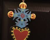 Hand Painted Wooden Mexican Folk Art Christmas Ornaments