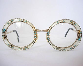 Iconic Tura Oversized Vintage Eyeglass Frames Round White Enamel Milk Glass Faux Turquoise Rhinestones Gold Tone LARGER Fit Extremely Rare