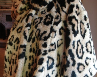 vintage Faux Leopard Shrug capelet Olympia Made in USA Medium size
