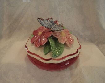 Ceramic Butterfly with Ceramic Floral Arrangement on Lidded Treasure/Trinket Box Handpainted Glazed One-of-a-Kind
