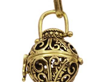 2pc antique gold finish metal prayer box pendant-7219