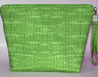 Designer Light Green Knit with Purl print inside project bag