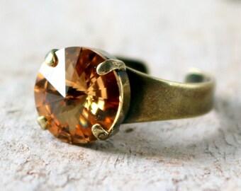 Light Colorado Topaz   Swarovski Jewelry   Minimalist Ring   Round Ring   Wedding Jewelry   Brass Ring   Beach Wedding   Topaz Wedding
