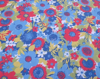 Vintage Sheet - Retro Blue Red Green Floral - Full or Double Flat Sheet