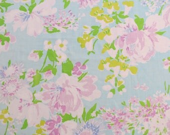 Vintage Sheet Fabric Fat Quarter - Purple and White Floral on Blue