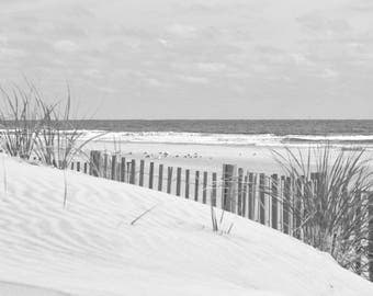Beach Photography, Coastal Wall Art, Sand Dune Picture, Ocean Photo, Dune Grass and Beach Fence, Black and White Beach Art, Jersey Shore Art