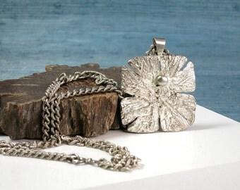 Vintage Swedish Modernist Plated Pewter Pendant Necklace, Alf Halldin Sweden Design, Modernist Relief Jewellery, Geometric Brutalist Pendant