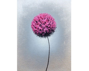 Pink Flower Art Print, Abstract Art Print, Pink and Silver Art, Metallic Wall Art, Dandelion Flower, Mid Century Mod Home Decor, 9x12, 18x24