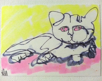 sale aceo 1 LINE FELINE 1 original kimartist animal brut cute cat kitteh kitty modern naive reclining sleeping pink yellow black white sfa