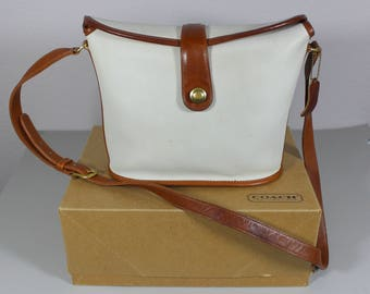 80s Coach binocular bag. Spectator style purse. Vintage Coach shoulder bag. Structured purse. Off white cross body bag. Made in USA