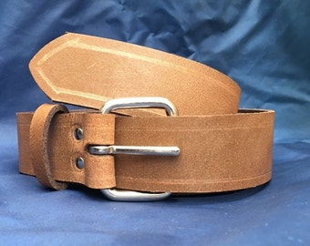 Milwaukee Chestnut Brown Distressed (Worn Look) Leather Belt 38mm (1 1/2 inches) wide with Choice of Buckle and Sizes Handmade Real Leather