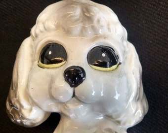 Ceramic Poodle Figurine, Big-Eyed Poodle Puppy