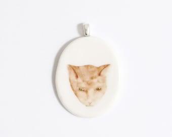 SALE Cat pendant white porcelain ceramic handmade ginger grumpy