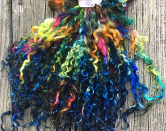 Teeswater Locks, Extra Long, Dyed, Tailspinning, 1 ounce, Doll Hair, Spin, Felt, Fleece, Andromeda