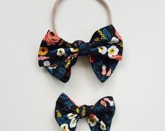 Black floral Emmie bow headband or clip