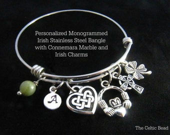 Personalized Irish Stainless Steel Bangle with Connemara Marble, Monogram Initial Charm and Irish Charms - Stackable