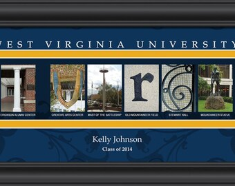 PERSONALIZED & FRAMED NCAA West Virginia Mountaineers Letter Art Sports Prints