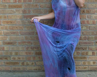 Shredded Tie Dyed Dress ~ slowshine