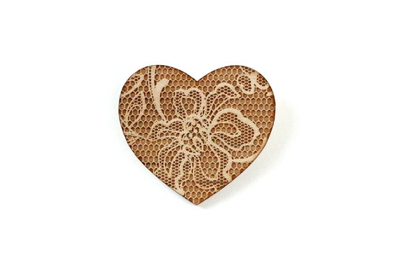Heart-shaped brooch with lace pattern - wedding pin - vintage jewelry - retro jewellery - lasercut maple wood - romantic accessory