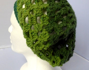 Mossy Green Crocheted Boho Beret, Handcrafted Green Multi Hat