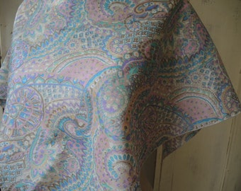 Vintage pastel paisley polyester scarf  30 x 30 inches