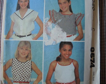 vintage 1980s McCalls sewing pattern Brooke Shields 8574 Girls' set of tops size 14