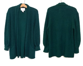Vintage 80's Sweater Slouchy Sweater 80's Cardigan Minimalist Sweater Dark Green Sweater Oversized Sweater Curly Knit 80s Clothing F