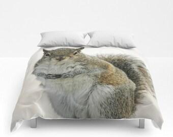 Gray Squirrel, Comforter, Bedspread, Bedding, Bedroom Decor, Photography, Queen Comforter