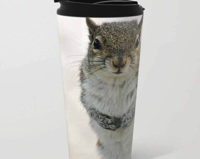Gray Squirrel Metal Travel Mug, Travel Mug, Coffee Mug, Beverage Cup, Squirrel, Photography