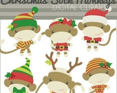 SALE - Christmas Clipart Sock Monkeys -Personal and Limited Commercial Use- Santa Sock Monkey, Sock Monkey Holiday Clipart