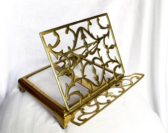 Vintage brass book easel...book holder.