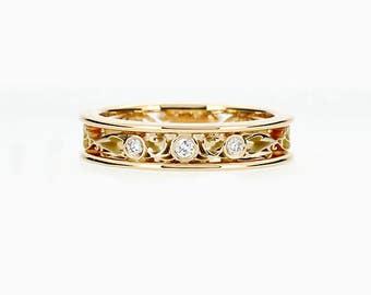 Diamond ring, Thin filigree, yellow gold, wedding band, gold weddin ring, lace, filigree wedding, thin, Diamond wedding
