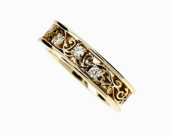 Diamond filigree ring, yellow gold, wedding band,  diamond wedding, filigree ring, unique, vintage style, filigree wedding, gold engagement