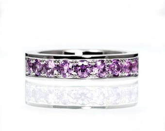 Lavender sapphire ring, palladium wedding band, violet wedding ring, sapphire eternity, palladium engagement, unique, purple, engagement