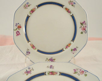Antique Luncheon Plates Vintage Wedding John Maddock & Son England Royal Vitreous Blue and Ivory Floral Octagonal Plates Set of 6 Rare 1800s