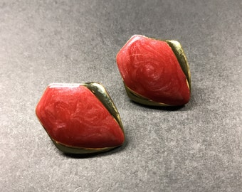 Vintage earrings , Red & Gold earrings , Enamel earrings , 80's earrings ,