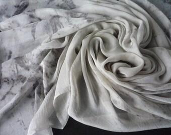 Eco Printed Silk Chiffon Fabric Botanical Print on Silk for Sewing, Felting or Scarf Australian Plants Beige Grey Black Leaf Patern