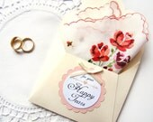 Happy Tears Wedding Hanky, Vintage White Red Rose Handkerchief  Mother of Bride Gift, Mother of Groom Gift Something Old Maid of Honor Gift,
